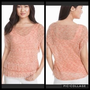 NWOT WHBM Peach Fringe Cut Out Sweater Small